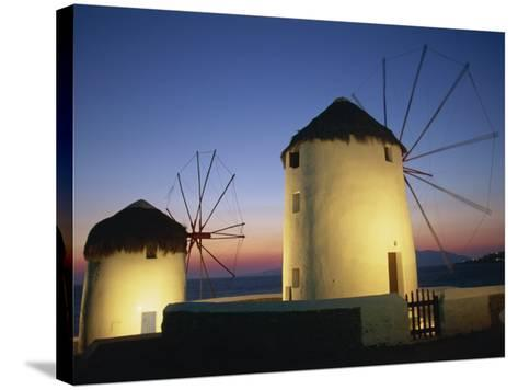 Floodlit Windmills at Night, Mykonos Town, Mykonos, Cyclades, Greek Islands, Greece, Europe-Lee Frost-Stretched Canvas Print