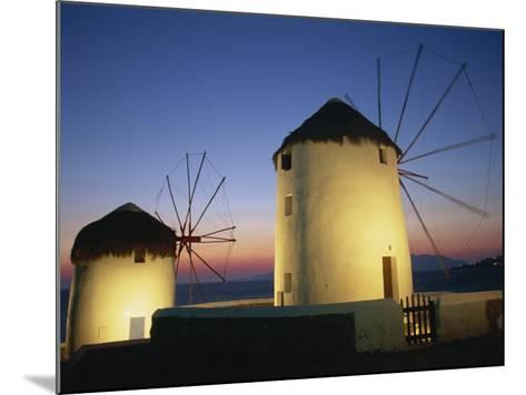 Floodlit Windmills at Night, Mykonos Town, Mykonos, Cyclades, Greek Islands, Greece, Europe-Lee Frost-Mounted Photographic Print