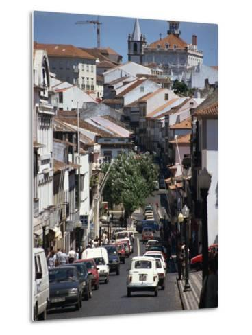 Main Street in Angra Do Heroismo, Terceira, Azores, Portugal, Atlantic, Europe-Ken Gillham-Metal Print
