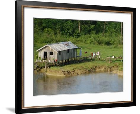 Wooden House with Plants and a Garden in the Breves Narrows in the Amazon Area of Brazil-Ken Gillham-Framed Art Print