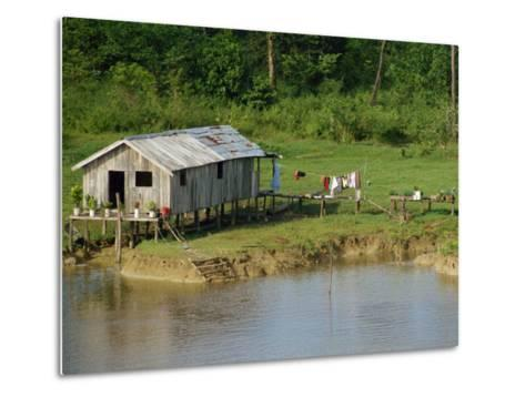 Wooden House with Plants and a Garden in the Breves Narrows in the Amazon Area of Brazil-Ken Gillham-Metal Print