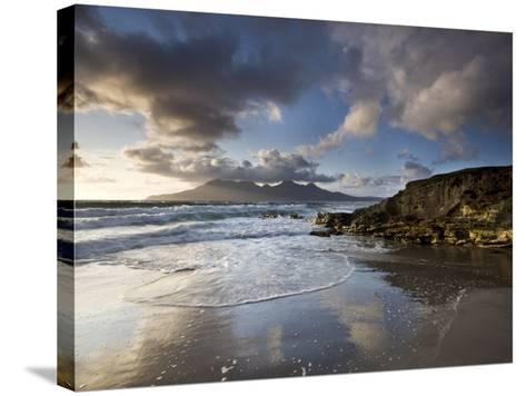 Isle of Rum from Singing Sands, Isle of Eigg, Inner Hebrides, Scotland, UK-Lee Frost-Stretched Canvas Print