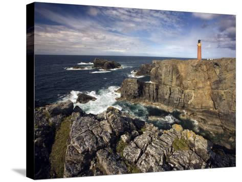 Lighthouse and Cliffs at Butt of Lewis, Isle of Lewis, Outer Hebrides, Scotland, United Kingdom-Lee Frost-Stretched Canvas Print