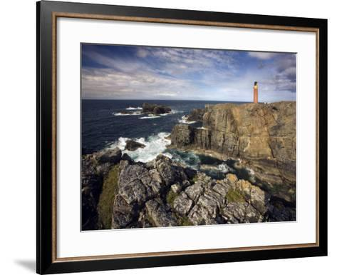 Lighthouse and Cliffs at Butt of Lewis, Isle of Lewis, Outer Hebrides, Scotland, United Kingdom-Lee Frost-Framed Art Print
