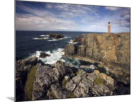 Lighthouse and Cliffs at Butt of Lewis, Isle of Lewis, Outer Hebrides, Scotland, United Kingdom-Lee Frost-Mounted Photographic Print