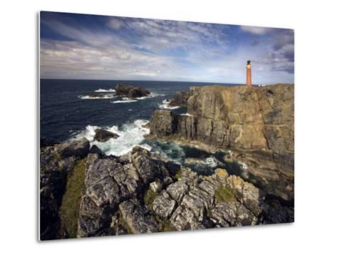Lighthouse and Cliffs at Butt of Lewis, Isle of Lewis, Outer Hebrides, Scotland, United Kingdom-Lee Frost-Metal Print