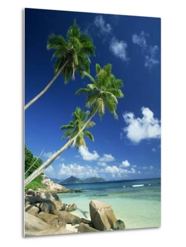 La Digue with Praslin Island in Background, Anse Severe, Seychelles, Indian Ocean, Africa-Lee Frost-Metal Print