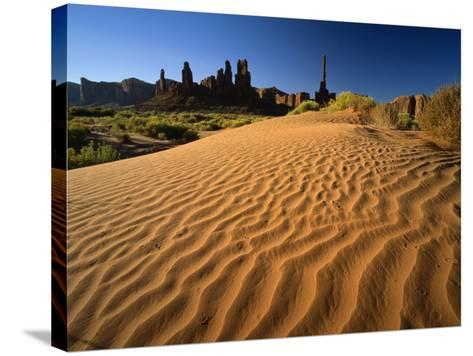 Totem Pole and Sand Springs, Monument Valley Tribal Park, Arizona, USA-Lee Frost-Stretched Canvas Print