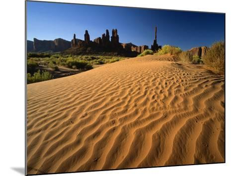 Totem Pole and Sand Springs, Monument Valley Tribal Park, Arizona, USA-Lee Frost-Mounted Photographic Print