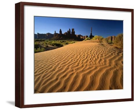 Totem Pole and Sand Springs, Monument Valley Tribal Park, Arizona, USA-Lee Frost-Framed Art Print