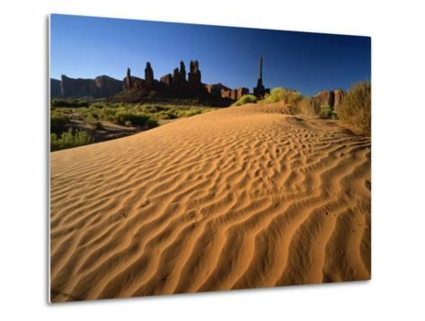 Totem Pole and Sand Springs, Monument Valley Tribal Park, Arizona, USA-Lee Frost-Metal Print