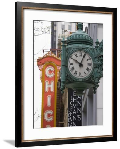 Marshall Field Building Clock and Chicago Theatre Behind, Chicago, Illinois, USA-Amanda Hall-Framed Art Print