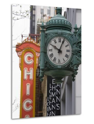Marshall Field Building Clock and Chicago Theatre Behind, Chicago, Illinois, USA-Amanda Hall-Metal Print