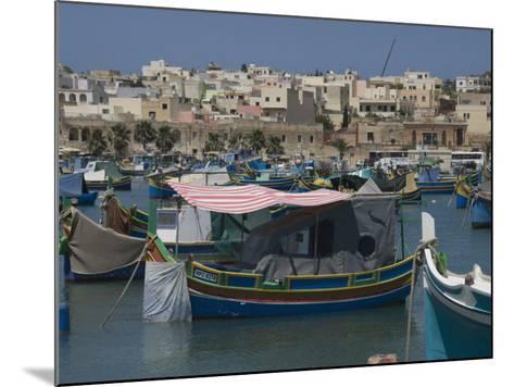 Brightly Coloured Fishing Boats Called Luzzus at the Fishing Village of Marsaxlokk, Malta-Robert Harding-Mounted Photographic Print