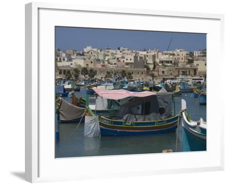 Brightly Coloured Fishing Boats Called Luzzus at the Fishing Village of Marsaxlokk, Malta-Robert Harding-Framed Art Print