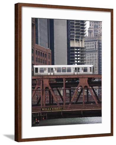 An El Train on the Elevated Train System Crossing Wells Street Bridge, Chicago, Illinois, USA-Amanda Hall-Framed Art Print