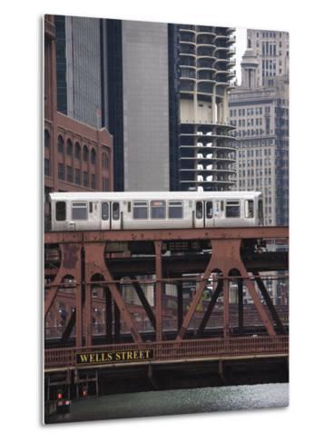 An El Train on the Elevated Train System Crossing Wells Street Bridge, Chicago, Illinois, USA-Amanda Hall-Metal Print