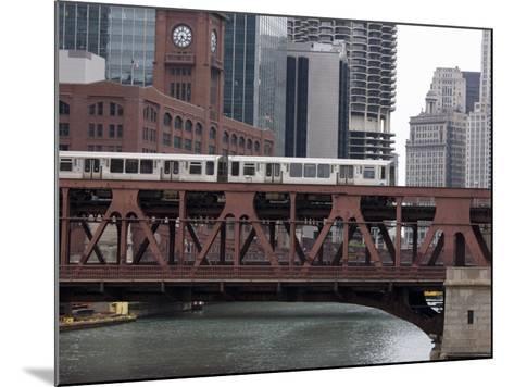 An El Train on the Elevated Train System Crossing Wells Street Bridge, Chicago, Illinois, USA-Amanda Hall-Mounted Photographic Print