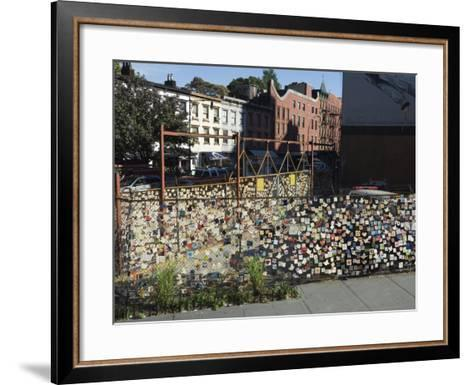 9/11 Messages on Tiles on Fence in Greenwich Village, Manhattan, New York, New York State, USA-Robert Harding-Framed Art Print