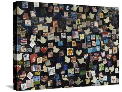 9/11 Messages on Tiles on Fence in Greenwich Village, Manhattan, New York, New York State, USA-Robert Harding-Stretched Canvas Print