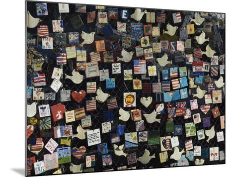 9/11 Messages on Tiles on Fence in Greenwich Village, Manhattan, New York, New York State, USA-Robert Harding-Mounted Photographic Print