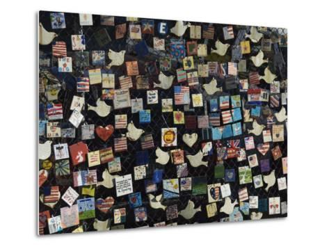 9/11 Messages on Tiles on Fence in Greenwich Village, Manhattan, New York, New York State, USA-Robert Harding-Metal Print