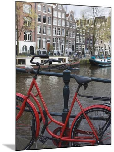 Red Bicycle by the Herengracht Canal, Amsterdam, Netherlands, Europe-Amanda Hall-Mounted Photographic Print