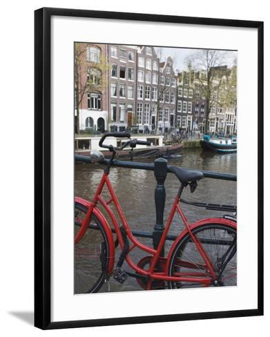 Red Bicycle by the Herengracht Canal, Amsterdam, Netherlands, Europe-Amanda Hall-Framed Art Print