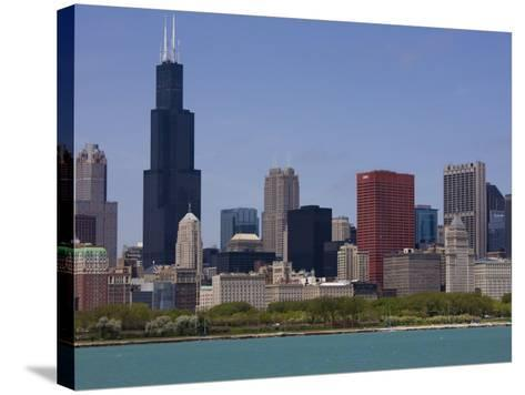 Sears Tower and Skyline, Chicago, Illinois, United States of America, North America-Amanda Hall-Stretched Canvas Print