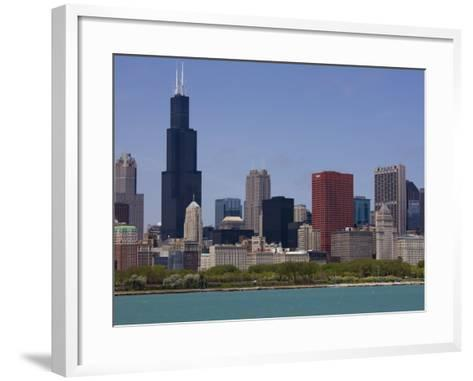 Sears Tower and Skyline, Chicago, Illinois, United States of America, North America-Amanda Hall-Framed Art Print