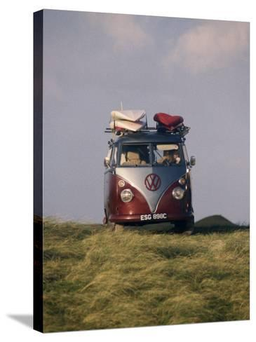 VW Camper Van with Surf Boards on Roof-Dominic Harcourt-webster-Stretched Canvas Print