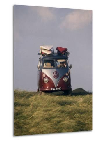 VW Camper Van with Surf Boards on Roof-Dominic Harcourt-webster-Metal Print