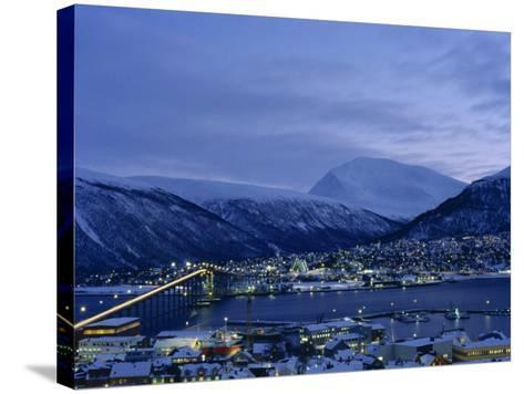 Tromso and its Bridge to the Mainland at Dusk, Arctic Norway, Scandinavia, Europe-Dominic Harcourt-webster-Stretched Canvas Print