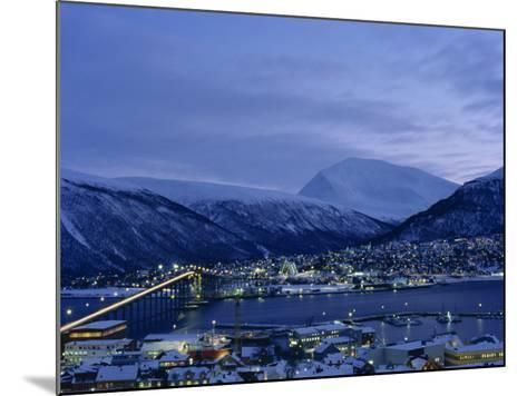 Tromso and its Bridge to the Mainland at Dusk, Arctic Norway, Scandinavia, Europe-Dominic Harcourt-webster-Mounted Photographic Print