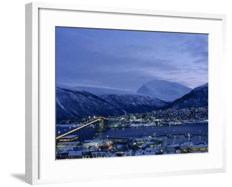 Tromso and its Bridge to the Mainland at Dusk, Arctic Norway, Scandinavia, Europe-Dominic Harcourt-webster-Framed Art Print