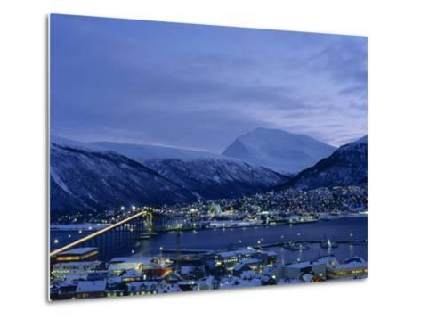 Tromso and its Bridge to the Mainland at Dusk, Arctic Norway, Scandinavia, Europe-Dominic Harcourt-webster-Metal Print