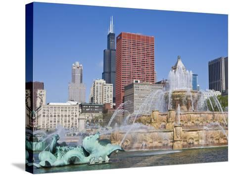 Buckingham Fountain in Grant Park with Sears Tower and Skyline Beyond, Chicago, Illinois, USA-Amanda Hall-Stretched Canvas Print