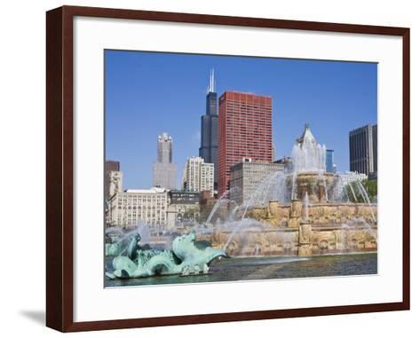 Buckingham Fountain in Grant Park with Sears Tower and Skyline Beyond, Chicago, Illinois, USA-Amanda Hall-Framed Art Print