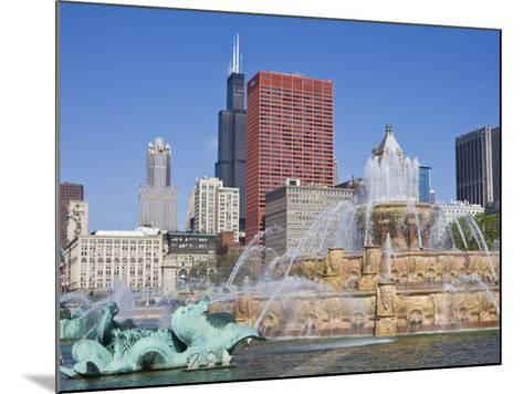 Buckingham Fountain in Grant Park with Sears Tower and Skyline Beyond, Chicago, Illinois, USA-Amanda Hall-Mounted Photographic Print