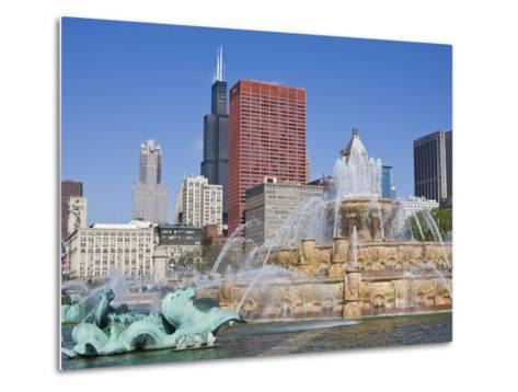 Buckingham Fountain in Grant Park with Sears Tower and Skyline Beyond, Chicago, Illinois, USA-Amanda Hall-Metal Print