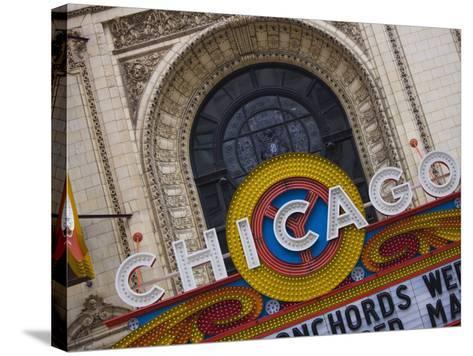 Chicago Theatre, Theatre District, Chicago, Illinois, United States of America, North America-Amanda Hall-Stretched Canvas Print