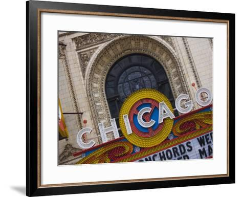 Chicago Theatre, Theatre District, Chicago, Illinois, United States of America, North America-Amanda Hall-Framed Art Print
