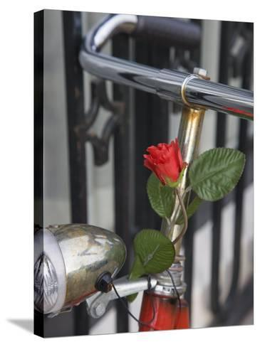 Close Up of a Bicycle with a Rose for Decoration, Amsterdam, Netherlands, Europe-Amanda Hall-Stretched Canvas Print