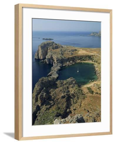 Rocky Coastline of St. Paul's Bay, Near Lindos, Rhodes, Dodecanese Islands, Greek Islands, Greece-Fraser Hall-Framed Art Print