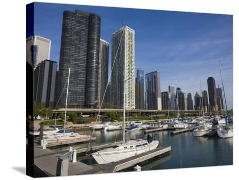 Yacht Marina, Chicago, Illinois, United States of America, North America-Amanda Hall-Stretched Canvas Print