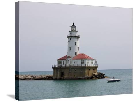 Chicago Harbor Lighthouse, Lake Michigan, Chicago, Illinois, USA-Amanda Hall-Stretched Canvas Print