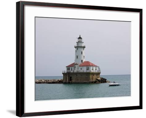 Chicago Harbor Lighthouse, Lake Michigan, Chicago, Illinois, USA-Amanda Hall-Framed Art Print