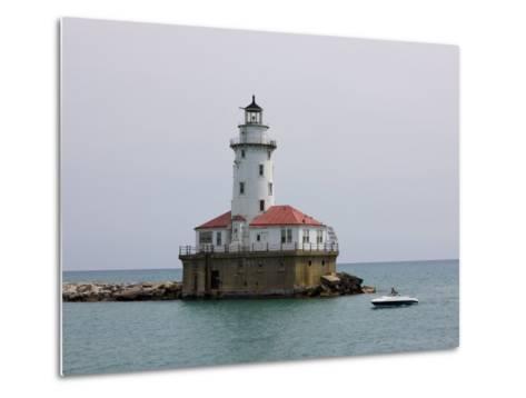 Chicago Harbor Lighthouse, Lake Michigan, Chicago, Illinois, USA-Amanda Hall-Metal Print