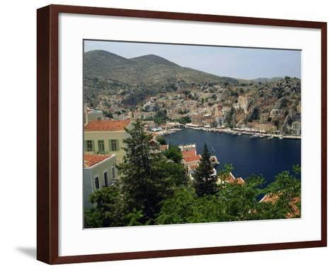 View over the Harbour and Town of Yialos on the Coast, Symi, Dodecanese Islands, Greece-Fraser Hall-Framed Art Print