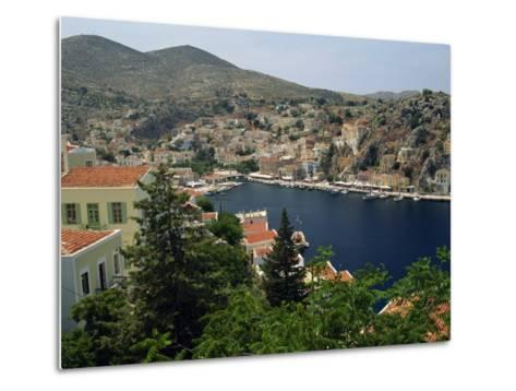 View over the Harbour and Town of Yialos on the Coast, Symi, Dodecanese Islands, Greece-Fraser Hall-Metal Print